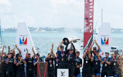 35th America's Cup Match presented by Louis Vuitton. Emirates Team New Zealand vs. Oracle Team USA race 9 and presentation.